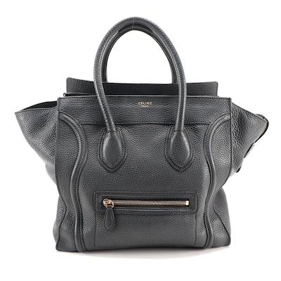 Céline Mini Luggage Tote in Black Bullhide Leather