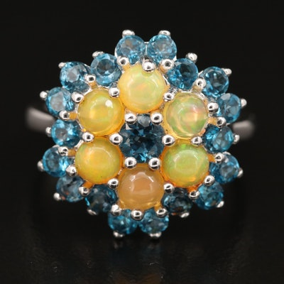 Sterling Opal and London Blue Topaz Ring
