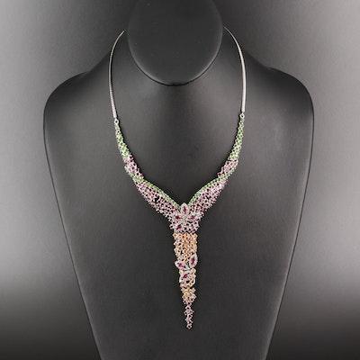 Sterling Silver Gemstone Y Necklace with Rhodolite Garnet and Sapphre