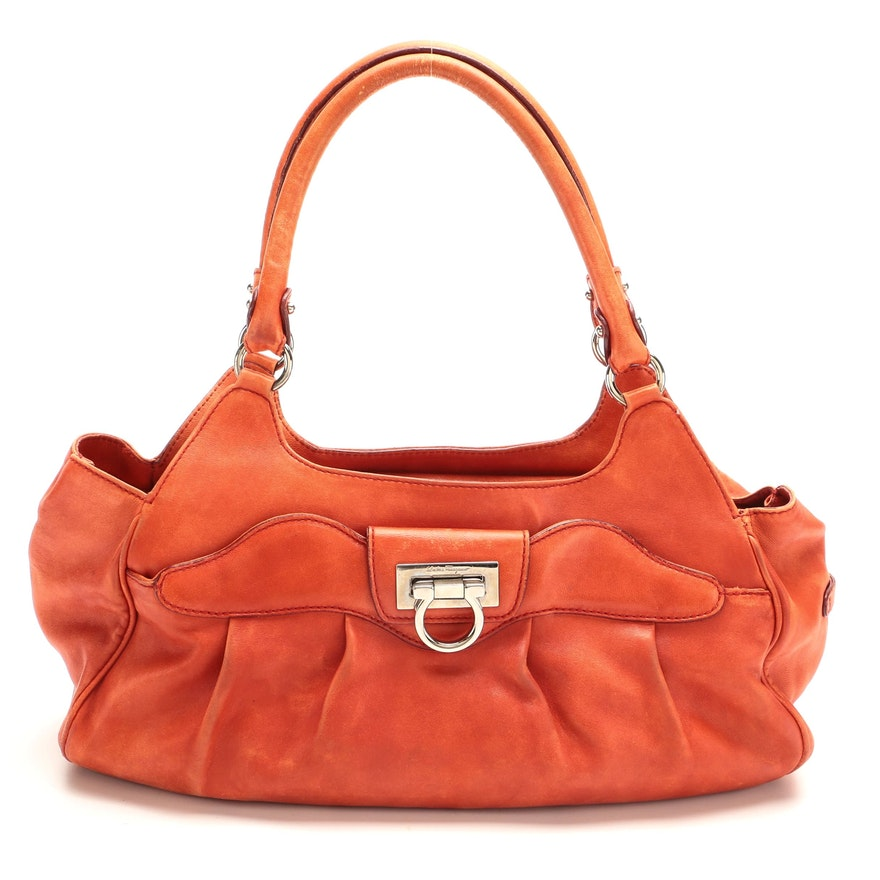 Salvatore Ferragamo Gancini Shoulder Bag in Orange Leather