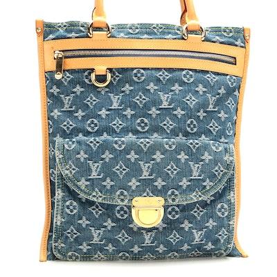 Louis Vuitton Sac Plat Bag in Denim Monogram and Vachetta Leather