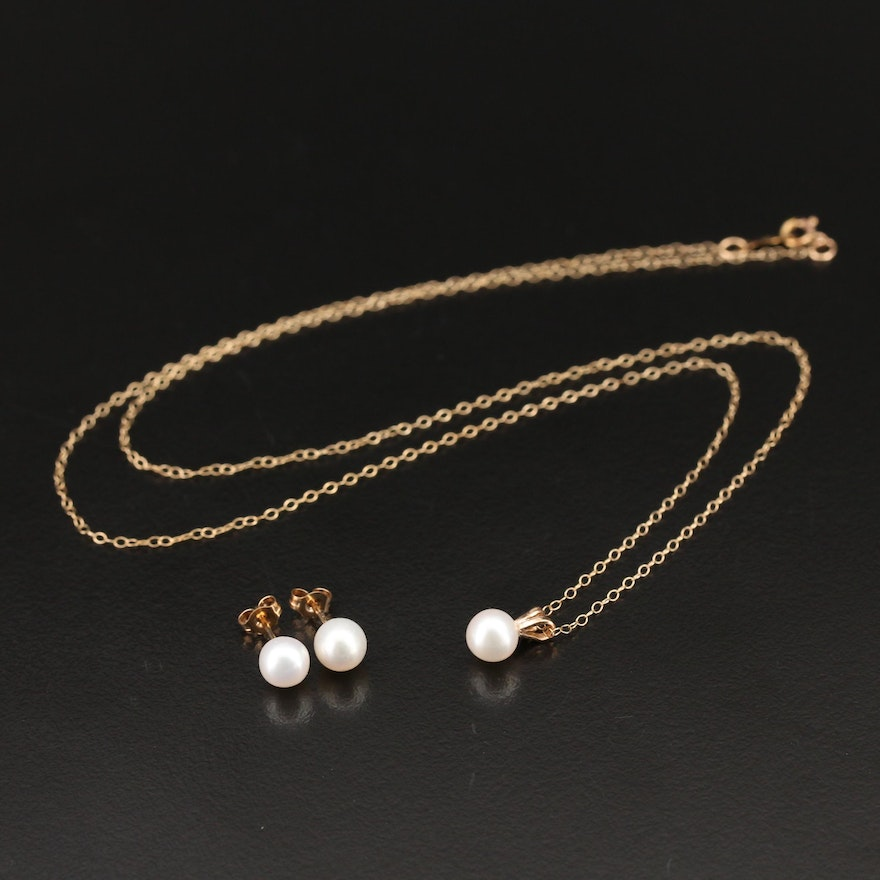 10K Pearl Necklace and Stud Earrings