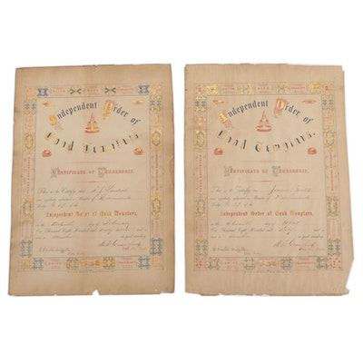 Independent Order of Good Templars Certificates of Membership, 1860–1867