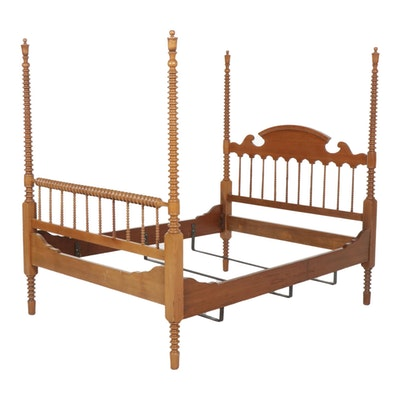 Spindle-Turned Walnut Full Size Four-Post Bed Frame, Early 20th Century