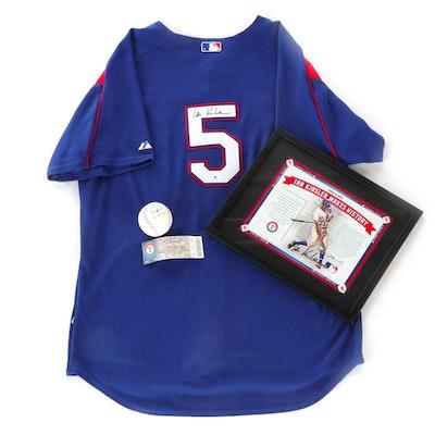 Ian Kinsler Signed Texas Rangers Jersey, 2008 All-Star Baseball, and Photo Print