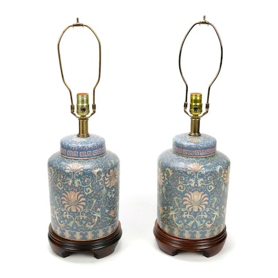 Frederick Cooper Chinoiserie Blue Ginger Jar Table Lamps, circa 1990