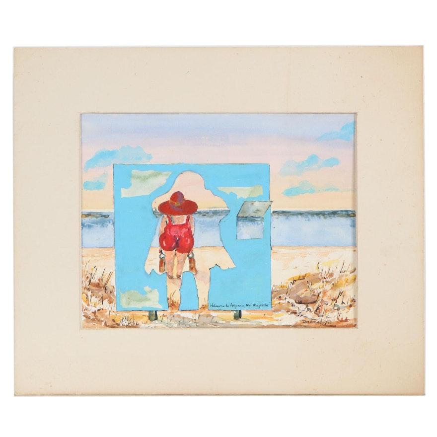 "Beach Scene Watercolor Painting ""Welcome to Aripeka,"" 1993"
