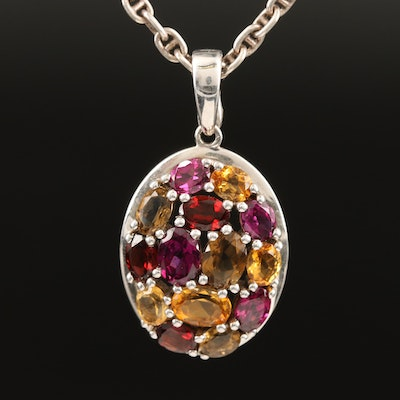 Sterling Silver Garnet and Citrine Necklace