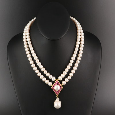Sterling Pearl And Ruby Station Necklace with Baroque Pearl Drop