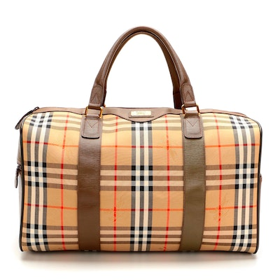 """Burberrys of London Weekender Bag in """"Haymarket Check"""" Canvas and Brown Leather"""