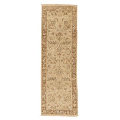 2'6 x 7'9 Hand-Knotted Pakistani Turkish Oushak Carpet Runner, 2010s