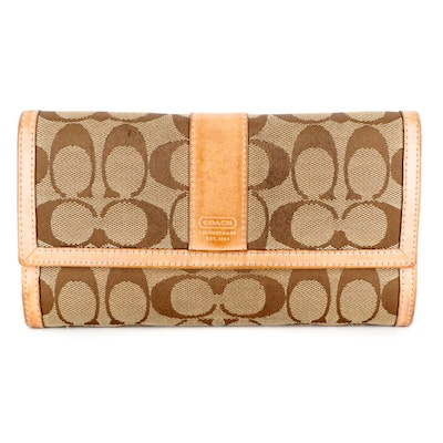 Coach Long Wallet in Signature Canvas with Leather Trim