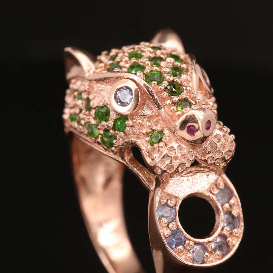 Sterling Ruby, Diopside and Tanzanite Door Knocker Ring