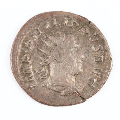 Ancient Roman Imperial AR Antoninianus Coin of Philip I, ca. 244 AD