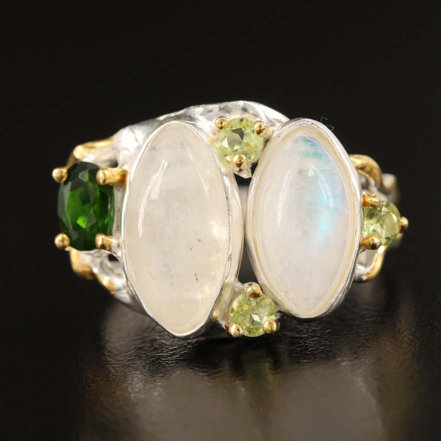 Sterling Moonstone, Peridot and Diopside Ring