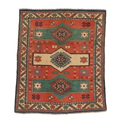4'3 x 5'1 Hand-Knotted Turkish Village Rug, 1960s