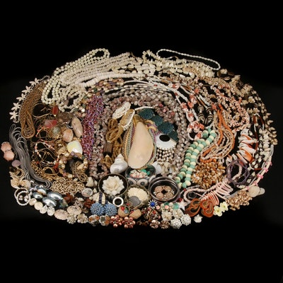 Jewelry Grouping Including Shell, Rose Quartz and Mother of Pearl