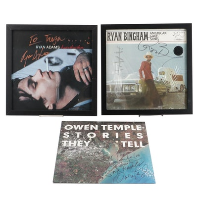 Signed and Framed Records by Ryan Adams, Ryan Bingham, and Owen Temple