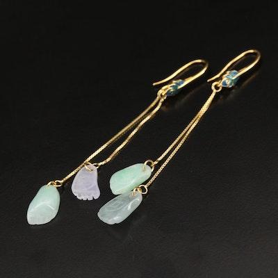 Sterling Jadeite and Enamel Earrings
