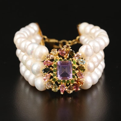 Sterling Silver Pearl Bracelet with Tourmaline and Amethyst