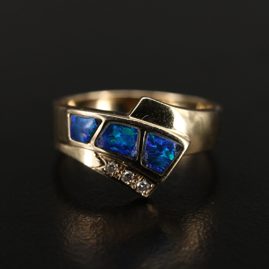 14K Opal Doublet and Diamond Ring