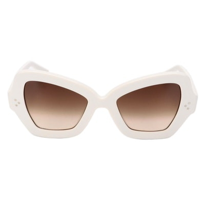 Celine CL400671 White Acetate Butterfly Sunglasses