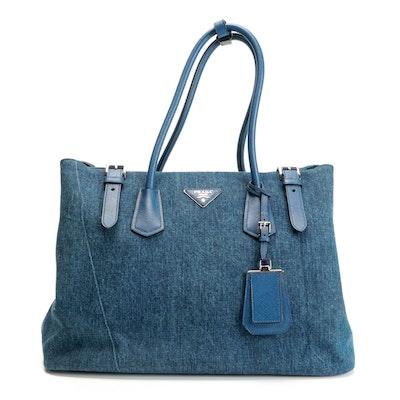 Prada Blue Denim and Saffiano Leather Tote Bag