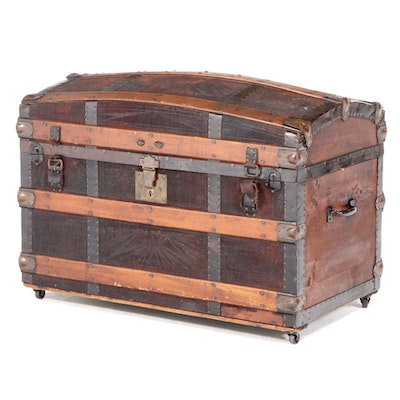 Late Victorian Metal-Mounted and Leather-Lined Wood Dome-Top Steamer Trunk