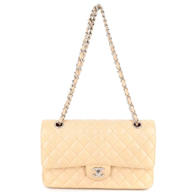 Chanel Classic Medium Double Flap Bag in Beige Caviar Leather