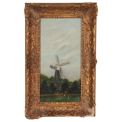 """Landscape Oil Painting """"Windmill,"""" 20th Century"""