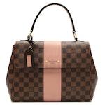 Louis Vuitton Bond Street Shoulder Bag Damier Ebene Canvas and Pink Leather