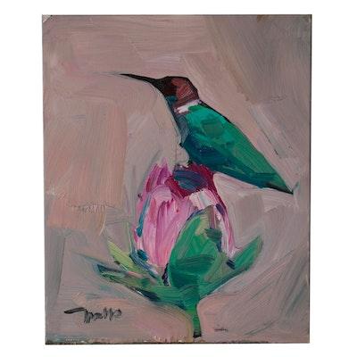 "Jose Trujillo Oil Painting ""Humming Bird"""