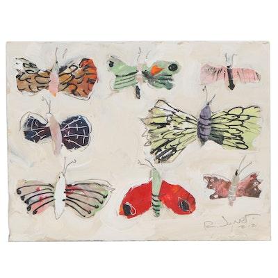 Robert Joyner Abstract Butterfly Mixed Media Painting
