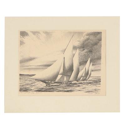 "John Moll Lithograph ""Chesapeake Bay Canoes"""