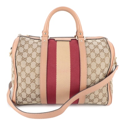 Gucci Web GG Canvas and Leather Convertible Boston Bag