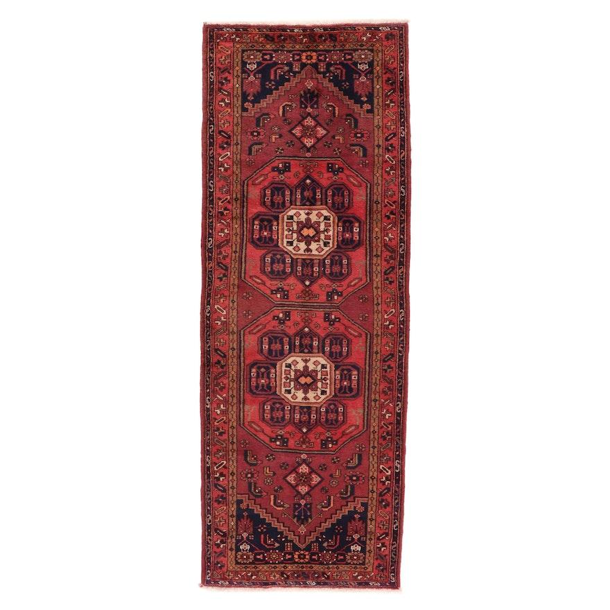 3'6 x 10' Hand-Knotted Persian Zanjan Long Rug, 1970s