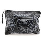 Balenciaga Bazar Graffiti Zip Around Clutch in Black Leather