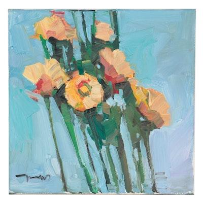 "Jose Trujillo Oil Painting ""Baby Marigolds,"" 2021"