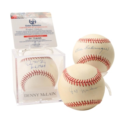 Denny McLain, Chas Gehringer, and Hal Newhouser Signed Official Baseballs