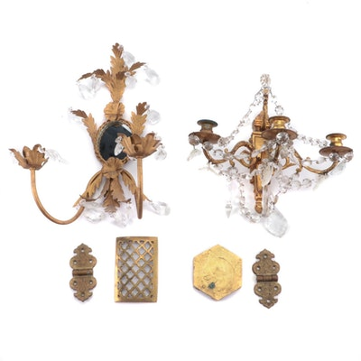 Hollywood Regency Style Gilt Metal Candle Sconces with Prisms and Other Brass