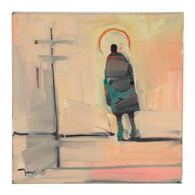 "Jose Trujillo Oil Painting ""Bus Stop to Nowhere"""