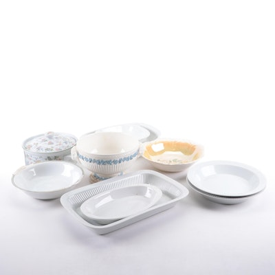 Wedgwood Queensware Footed Bowl with Other Ceramic Serveware and Bakeware