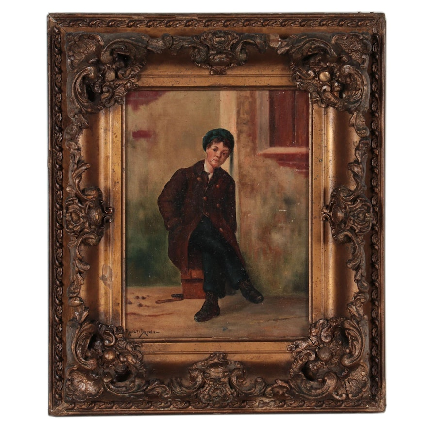 Oil Painting of a Figure Smoking, 20th Century