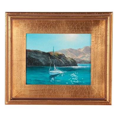 """Jevgenijus Litvinas Nautical Oil Painting """"Sailing,"""" 2021"""