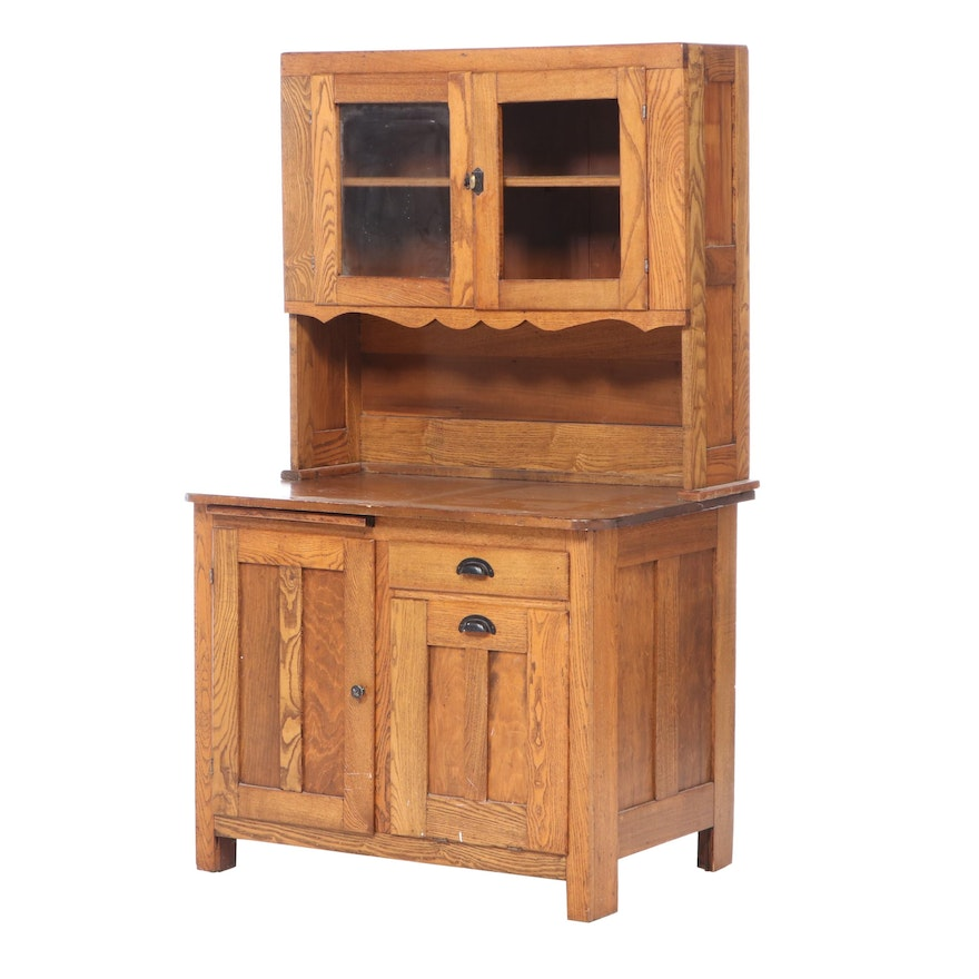 American Oak and Poplar Kitchen Cupboard, Late 19th/Early 20th Century