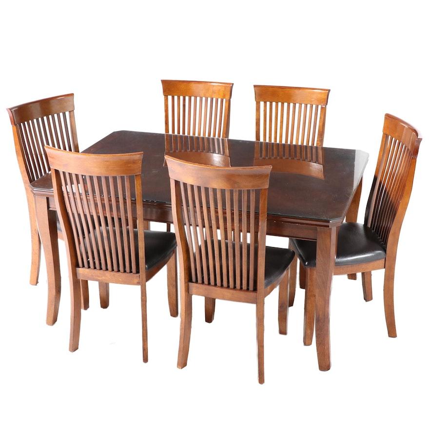 Seven-Piece Green World Furniture Co. Hardwood Dining Set