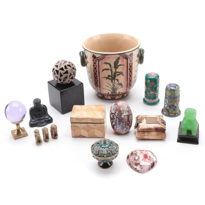 Chinese Ceramic Planter, Bone Inlay Trinket Boxes and Other Décor