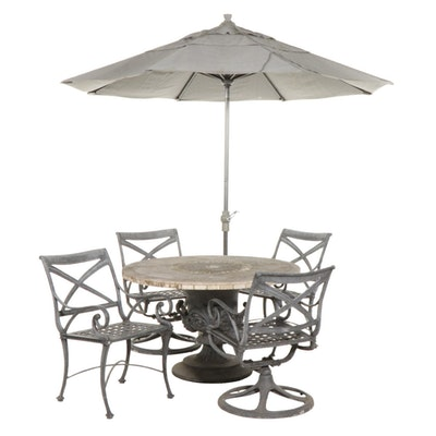 Concrete Patio Dining Table and Four Landgrave Metal Chairs