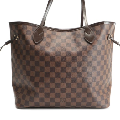 Louis Vuitton Neverfull MM in Damier Ebene Canvas and Brown Smooth Leather
