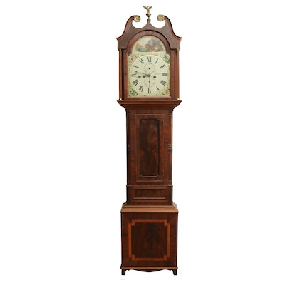 Scottish G. Brown Alyth Mahogany Longcase Clock with Hand-Painted Face, 19th C.